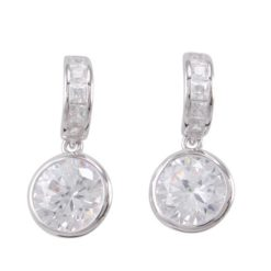 Sterling Silver 20x9mm Round White Cubic Zirconia Stud Earrings