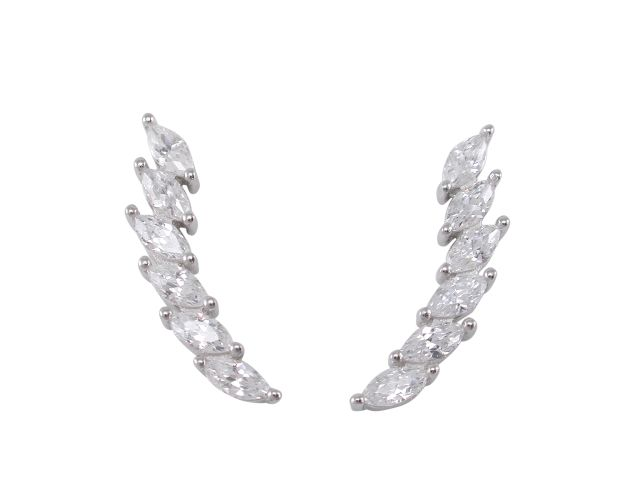 Sterling Silver 22x5mm Marquise White Cubic Zirconia Up The Ear Earrings