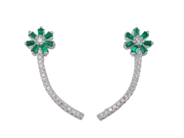 Sterling Silver 24x7mm Green Tapered Baguette Cubic Zirconia Up The Ear Earrings