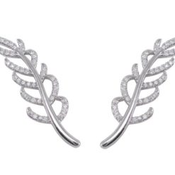 Sterling Silver 31x9mm White Cubic Zirconia Leaf Design Up The Ear Earrings