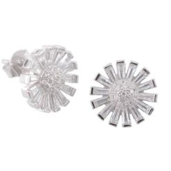 Sterling Silver 12mm White Tapered Baguette Cubic Zirconia Cluster Stud Earrings