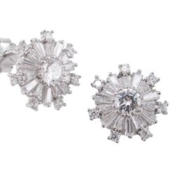 Sterling Silver 13mm White Tapered Baguette Cubic Zirconia Snowflake Stud Earrings