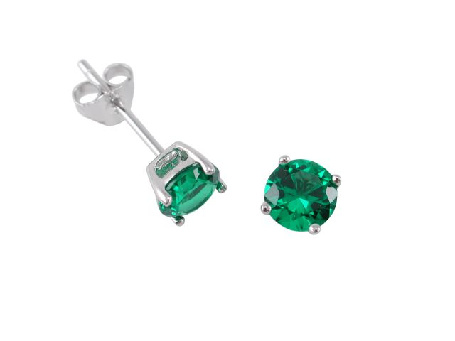 Sterling Silver 5mm Round Green Cubic Zirconia Stud Earrings