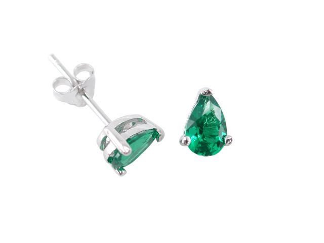 Sterling Silver 6x4mm Green Teardrop Cubic Zirconia Stud Earrings