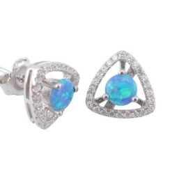 Sterling Silver 11mm Triangle Blue Synthetic Opal & White Cubic Zirconia Stud Earrings