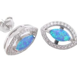 Sterling Silver 14x10mm Marquise Blue Synthetic Opal & White Cubic Zirconia Stud Earrings