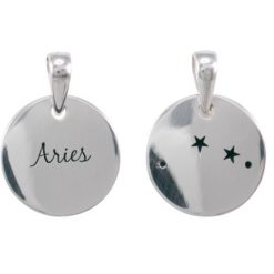 Sterling Silver 16mm Aries Constellation Double Sided Pendant