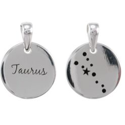 Sterling Silver 16mm Taurus Constellation Double Sided Pendant