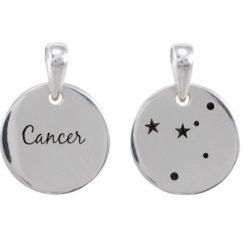 Sterling Silver 16mm Cancer Constellation Double Sided Pendant