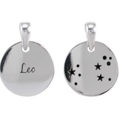 Sterling Silver 16mm Leo Constellation Double Sided Pendant