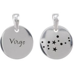 Sterling Silver 16mm Virgo Constellation Double Sided Pendant