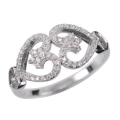 Sterling Silver 9mm White Cubic Zirconia Hearts Ring