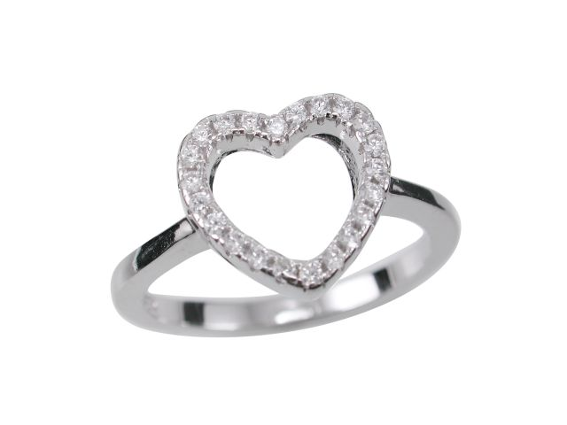 Sterling Silver 10mm White Cubic Zirconia Heart Ring