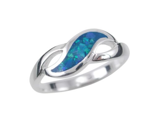 Sterling Silver 6mm Blue Synthetic Opal Leaf Shape Ring