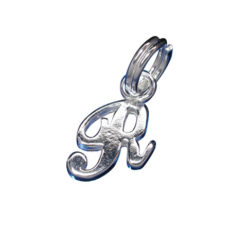Sterling Silver 10mm Script Initial *r* Charm With Split Ring