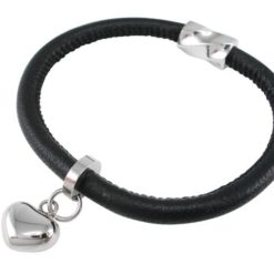 Stainless Steel 12mm Heart On 5mm Black Nappa Leather Bracelet