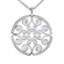 Stainless Steel 50mm White Cubic Zirconia Filigree Necklet 70cm