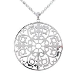 Stainless Steel 50mm Round Filigree Necklet 70cm