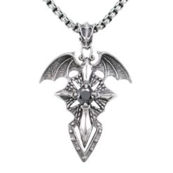 Stainless Steel 52x36mm Black Cubic Zirconia Vampire Wings & Cross  Necklet 60cm