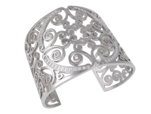 Stainless Steel 50mm White Cubic Zirconia Filigree Cuff Bangle