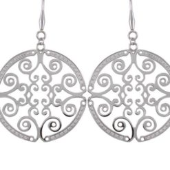 Stainless Steel 35mm White Cubic Zirconia Filigree Drop Earrings
