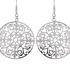 Stainless Steel 35mm Filigree Drop Earrings