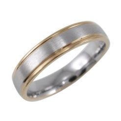 Stainless Steel 5mm Gold Ip Edge Matt Centre Ring