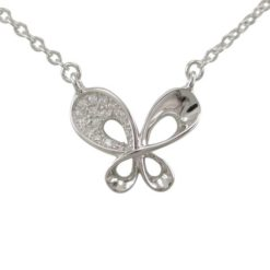 Sterling Silver 15x12mm White Cubic Zirconia Butterfly Necklet 40-45cm