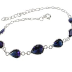 Sterling Silver 7mm Teardrop Blue Cubic Zirconia Bracelet 16-19cm