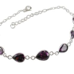 Sterling Silver 7mm Teardrop Purple Cubic Zirconia Bracelet 16-19cm