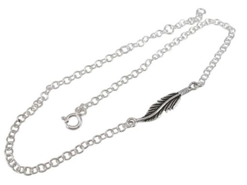 Sterling Silver 20x5mm Feather Anklet 21-25cm