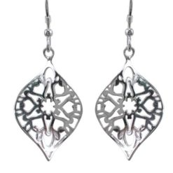 Sterling Silver 25x17mm Heart Filigree Twisted Marquise Drop Earrings