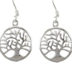 Sterling Silver 16mm Round Domed Tree Of Life Drop Earrings