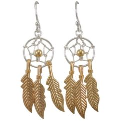Sterling Silver 30x12mm Gold Plated Dream Catcher Drop Earrings