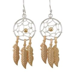 Sterling Silver 33x16mm Gold Plated Dream Catcher Drop Earrings