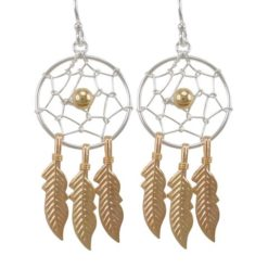 Sterling Silver 37x18mm Gold Plated Dream Catcher Drop Earrings