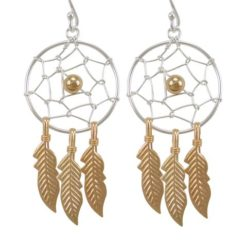 Sterling Silver 38x20mm Gold Plated Dream Catcher Drop Earrings