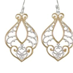 Sterling Silver 28x18mm Gold Plated Filigree Drop Earrings