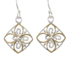 Sterling Silver 15mm Gold Plated Floral Drop Earrings