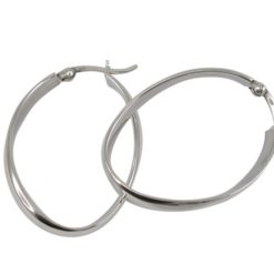 Sterling Silver 33x24mm, 4mm Wide Curved Hoop Earrings