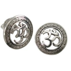 Sterling Silver 14mm Round Aum Stud Earrings