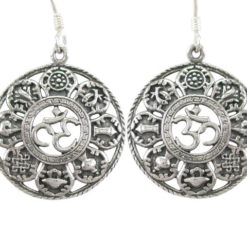 Sterling Silver 21mm Buddhist Ashtamangala Symbols & Aum Drop Earrings