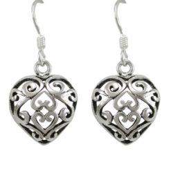 Sterling Silver 12mm Filgree Heart Drop Earrings