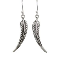 Sterling Silver 28x6mm Leaf Drop Earrings