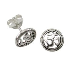 Sterling Silver 8mm Aum Stud Earrings