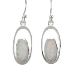 Sterling Silver 18x9mm Oval White Synthetic Opal Drop Earrings