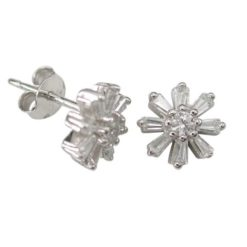 Sterling Silver 9mm White Tapered Baguette Cubic Zirconia Flower Stud Earrings
