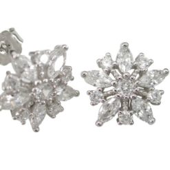 Sterling Silver 14mm White Marquise Cubic Zirconia Snowflake Stud Earrings