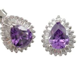 Sterling Silver 14x12mm Purple Teardrop & Tapered Baguette Cubic Zirconia Stud Earrings