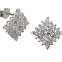 Sterling Silver 8mm Square White Cubic Zirconia Stud Earrings
